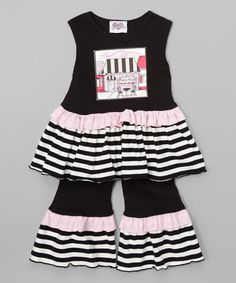 AnnLoren Black Paris Café Tunic & Pants - Infant, Toddler & Girls | zulily