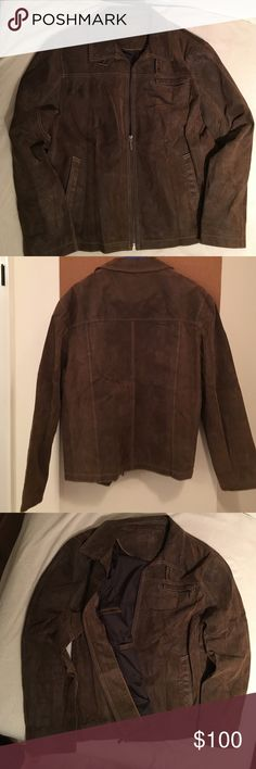 Brown Men's leather jacket with pockets Brown men's pig split leather jacket, lining 100% polyester, size large, with zipper, one zipper pocket at chest level and one side pocket on each side, 2 pockets inside in the lining on one side and one zip up pocket on the other side, trendy and perfect for fall and spring season, worn but in great condition Jackets & Coats