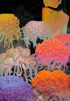 """Fuco Ueda 'Flower of Memory (Tripych) 「記憶の花」' (2014) Acrylic on canvas wrapped panel (triptych) 41.25 x 18"""" 105 x 46 cm"""