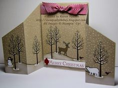 "Stampin"" Up! ... handmade Christmas card from Stampin' By The Bay: White Christmas Stand Up Card ... kraft base ... winter scene ... snow on bare trees ... beautiful!"