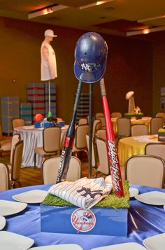 Bar Mitzvah & Bat Mitzvah Decor & Design: Yankees baseball theme Centerpiece by MMEink Event Design & Productions. mmeink.com. Call us to learn how we can help you with your next event: 877.885.0705