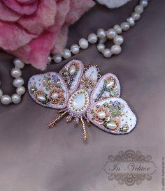 Купить цветочный мотылёк брошь - бледно-розовый, брошь, купить брошь, брошь ручной работы