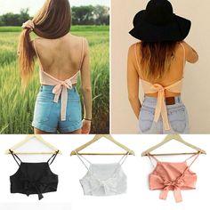 Sexy Women s Backless Tieback Chiffon Crop Vest Shirt Spaghetti Straps Bra Top