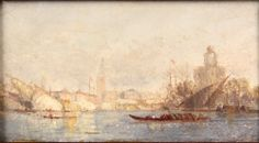 """View of Venice,"" Samuel Colman, oil on paper, 2 3/4 x 5"", private collection."