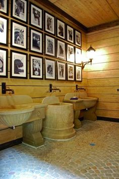 Gestut Peterhof wash room: love the idea of picture wall of the animals at the barn