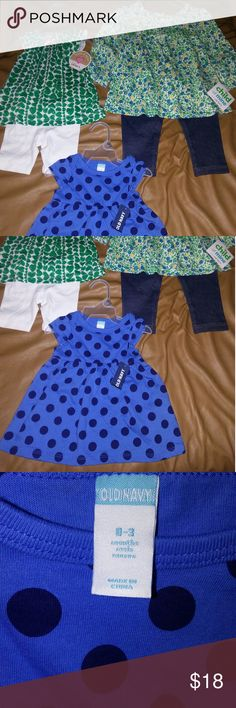Baby Girl Bundle 💛 NWT Old Navy Blue Polka Dot Dress 0-3 months, NWT Carter's 2 piece set Green Hearts top w/white shorts 0-3 months, NWT 2 Piece set Floral print w/ blue jean leggings 12M. Matching Sets