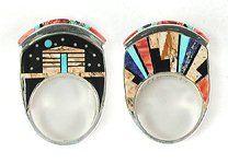 Inlay Ring Navajo Sterling Silver Merle House, Jr.