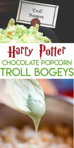 Collage of Harry Potter Troll Bogey chocolate covered popcorn pictures optimized. Harry Potter Marathon, Cumpleaños Harry Potter, Harry Potter Birthday, Harry Potter Theme Food, Harry Potter Desserts, Harry Potter Recipes, Red Sangria Recipes, Harry Potter Baby Shower, How To Make Greens