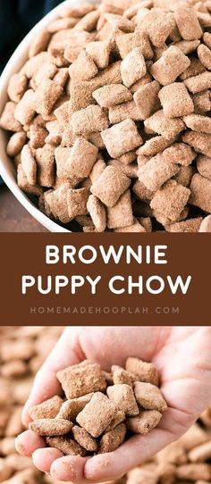 Brownie Puppy Chow Whether you call them puppy chow or muddy buddies you re sure to love this bakery makeover of the classic crunchy sweet snack with rich brownie flavor Puppy Chow Snack, Puppy Chow Recipes, Snack Mix Recipes, Snack Mixes, Chex Recipes, Crockpot Recipes, Casserole Recipes, Lemon Puppy Chow, Healthy Puppy Chow