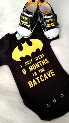 I just spent 9 Months in the Batcave Black or White Boys or Girls First Super Hero Batman Shirt Coming Home outfit or Baby Shower Batman Decoration