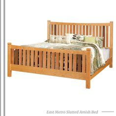 Make your bedroom the favorite room in your house with this modern Amish bed, offered in full, queen, and king sizes. Featuring wide slats on the Amish headboard and footboard, this Amish bed highlights the natural beauty of the wood grain. . #eastmetroseries #bed #bedroom #amishbed #bedroomfurniture #finefurniture #contemporary #contemporaryfurniture #contemporarybed