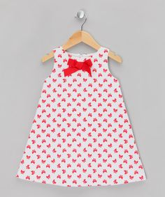 Take a look at this White & Red Bow Dress - Girls by Fina Ejerique on #zulily today!