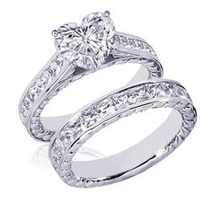 3.65 Ct Heart Shaped Diamond Engagement Wedding Ring