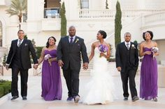 This purple wedding party is a definite do, with varying shades of purple and just enough neutrals!