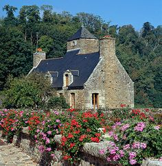 France, Brittany, Lehon , Cottage and garden