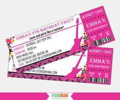 Rock Star Birthday Invitation by PixieBearParty on Etsy #rockstar #birthday