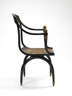 RISD Museum: Jean-Joseph Chapuis, French, Armchair, ca. 1810-1815, Wood; caning; brass (alloy); beech; 89.5 x 55.2 x 54.6 cm (35 1/4 x 21 3/4 x 21 1/2 inches), Abby Rockefeller Mauze Fund 81.300.2 #bentwood #neoclassical