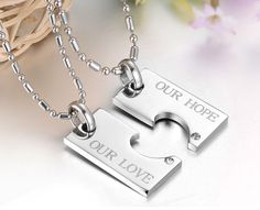 """2 pcs Rhinestone Titanium Lovers Couple Necklaces """"Forever Love"""" 16$ Only"""