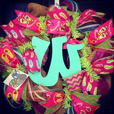 Burlap wreath with Flip Flop Ribbon//Turquoise//Pink//Lime//Blue//Orange//Chevron with center letter on Etsy, $85.00