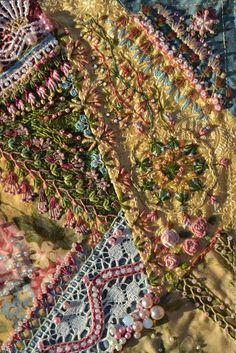 "I ❤ embroidery & crazy quilting . . . ""La vie en rose"" details3- Result of a marvellous class with Sharon. I used quilter's cotton, chinese silk, structured fabrics, many differnet kinds of yarns like stranded yarn, perle 3, 5, 8, silk yarn, braided silk, silk ribbon, lace, beads, buttons, hand made buttons, parts of an old necklace."