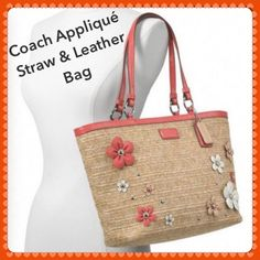 """Coach Leather & Straw Embellished Bag NWOTS Coral patent leather trim and handles. Zippered top closure with leather pull. Coach Coral patent leather logo plate on front of bag. Polished silver-tone Hardware. Double shoulder leather straps with 8 1/4"""" drop. Two Coach leather embossed hang tags.Roomy & spacious interior, fully lined in coral sateen fabric lining. Inside large zipper compartment and 2 multi-functional slip pockets. Coach Bags"""