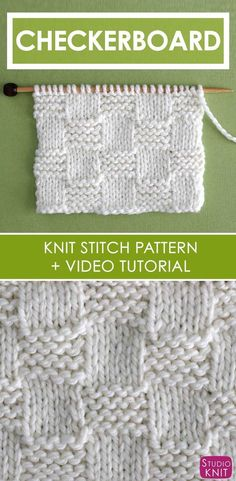 How to Knit the Garter Checkerboard Stitch with Studio Knit is part of Knitting and Crochet - How to Knit the Garter Checkerboard Stitch with Free Written Pattern and Video Tutorial by Studio Knit knitting Knitting Stiches, Loom Knitting Patterns, Knitting Kits, Free Knitting, Stitch Patterns, Knitting Tutorials, Knitting For Beginners Projects, Knit Stitches, Crochet Patterns