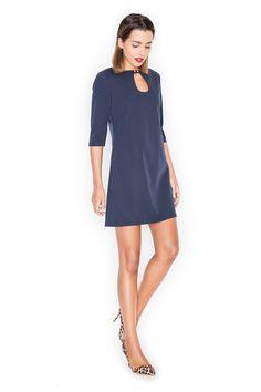Granatowa trapezowa sukienka o długości mini