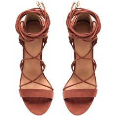 Remsandaletter med snøring 199 (€45) ❤ liked on Polyvore featuring shoes, sandals, heels, zapatos and heeled sandals