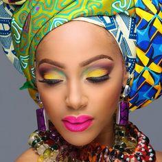 African Gele Culture Attire Flawless Makeup Beautiful Black Women