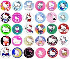 "30 Precut 1"" HELLO KITTY Bottle Cap Images for Hair Bow Centers Set 1"