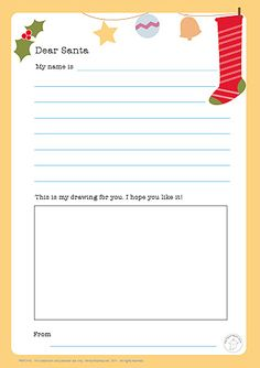 Dear Santa Letter. Cute printable! I love encouraging children to write letters anyday and writing to Santa is one of the highlights of the year in letter writing!