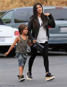 Meanwhile: Kourtney Kardashian was seen with their eldest son Mason out in Calabasas on We...
