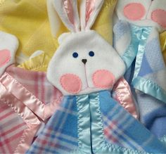 I love, love, love this new blue and pink plaid bunny blanket by SuziesImaginarium on Etsy, $23.00
