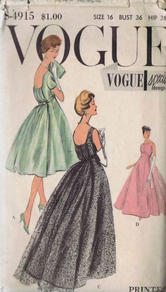 """SIZE 16 BUST 36 WAIST 28 HIP 38""""    Vogue Special Design Pattern  Pattern Number 4915  Copyright: 1958    Vintage 50's Evening and Cocktail Dress and Petticoat Pattern    High style empire line cocktail or evening Dress pattern with bouffant train or tailored classic back.  Half slip Petticoat"""
