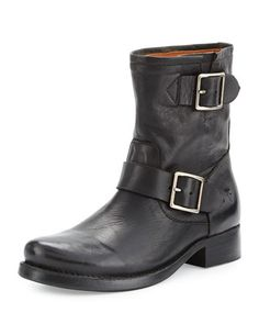 Vicky+Engineer+Leather+Bootie,+Black+by+Frye+at+Neiman+Marcus.