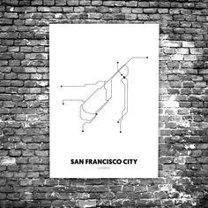San Francisco C2 - Acrylic Glass Art Subway Maps (Acrylglas, Underground)