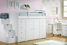 Lacado Infantil y Juvenil – Newport Program, lacquered children's and youth furniture - New Deko Sites Cute Bedroom Ideas, Girl Bedroom Designs, Awesome Bedrooms, Small Room Bedroom, Bedroom Decor, Home Room Design, Bedroom Layouts, Dream Rooms, House Rooms