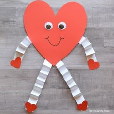 This heart person is a fun and easy Valentine's Day craft for kids Toddler Valentine Crafts, Valentines Day Activities, Valentines For Kids, Toddler Crafts, Valentines Day Crafts For Preschoolers, Valentine Gifts, Valentine Hearts, Fun Activities, Kindergarten Crafts