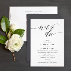 We Do Wedding Invitations by Emily Buford | Black and White Wedding Invitations | Elli
