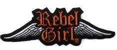 $4.95 Rebel Girl wings logo orange embroidered patch www.RebelGirl.com