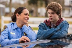 Natalie Martinez (Deputy Linda) and Colin Ford (Joe McAlister) have a laugh while filming Under The Dome.
