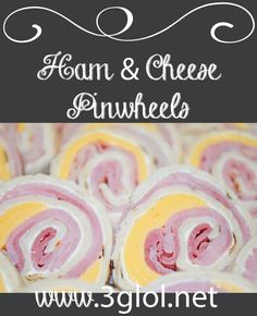 Ham and cheese pinwheels with cream cheese. Pinwheels have become one of the most made appetizers, but they make great snacks too. Pinwheel Appetizers, Pinwheel Recipes, Yummy Appetizers, Appetizer Recipes, Sandwich Recipes, Quick Sandwich, Appetizer Ideas, Party Appetizers, Meal Recipes