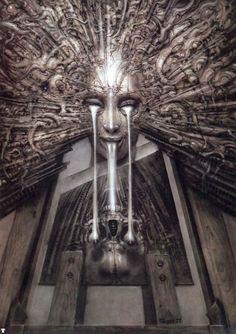 giger, swiss surrealist artist- from the baphomet tarot - der magier/the magician Xenomorph, Arte Horror, Horror Art, Hr Giger Art, Illusion Kunst, Giger Alien, Arte Alien, Arte Obscura, Baphomet
