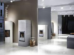 #tulikivi #messut #habitare #habitare2014 #fair #tradefair #fireplace #soapstone #modern #logs #marble #floor Soapstone, Bathroom Lighting, Marble, Flooring, Mirror, Modern, Furniture, Home Decor, Bathroom Light Fittings
