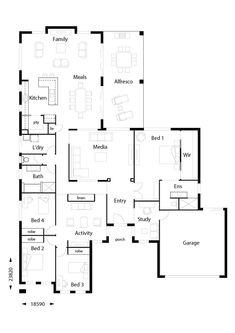 Infinity 319 - Hallmark Homes 4 Bedroom House Plans, Family House Plans, Dream House Plans, Build Your Own House, Build Your Dream Home, First Home Owners, Double Storey House, Hallmark Homes, Beautiful House Plans