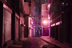 sci fi street / cyberpunk city / industrial / city lights / dark future / digital art