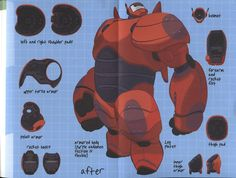Inside of Hiro Hamada's journal of his invention of Baymax's super suit armor that Hiro invented which is very cool.