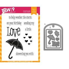 Wplus9 LOVE SHOWERS SET Clear Stamp And Die Combo SETWP9LSH