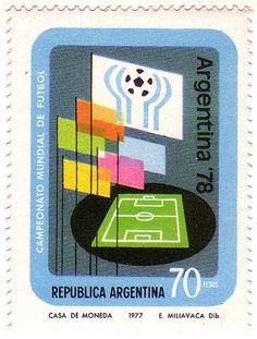 Una estampilla de1977 de Argentina para la Copa Mundial de FIFA en 1978