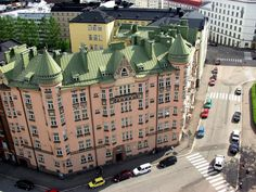 Pink old Jugend building, Kallio area in Helsinki, Finland Beautiful Buildings, Beautiful Places, Cities, Visit Helsinki, Singapore City, Capital City, Scenery, Around The Worlds, Homeland